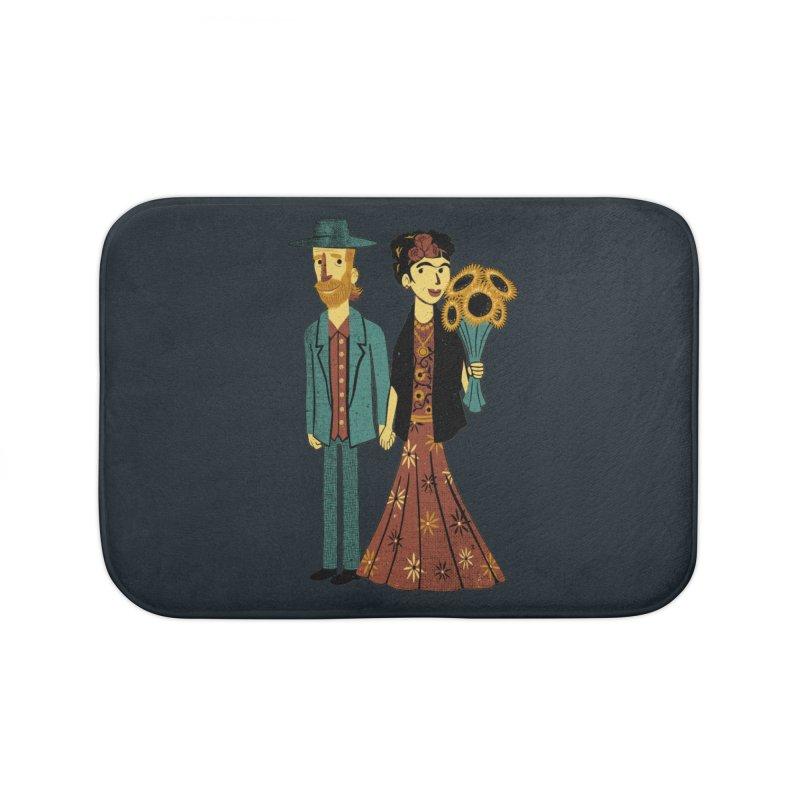 Love is Art Frida Kahlo and Van Gogh  Home Bath Mat by Tobe Fonseca's Artist Shop