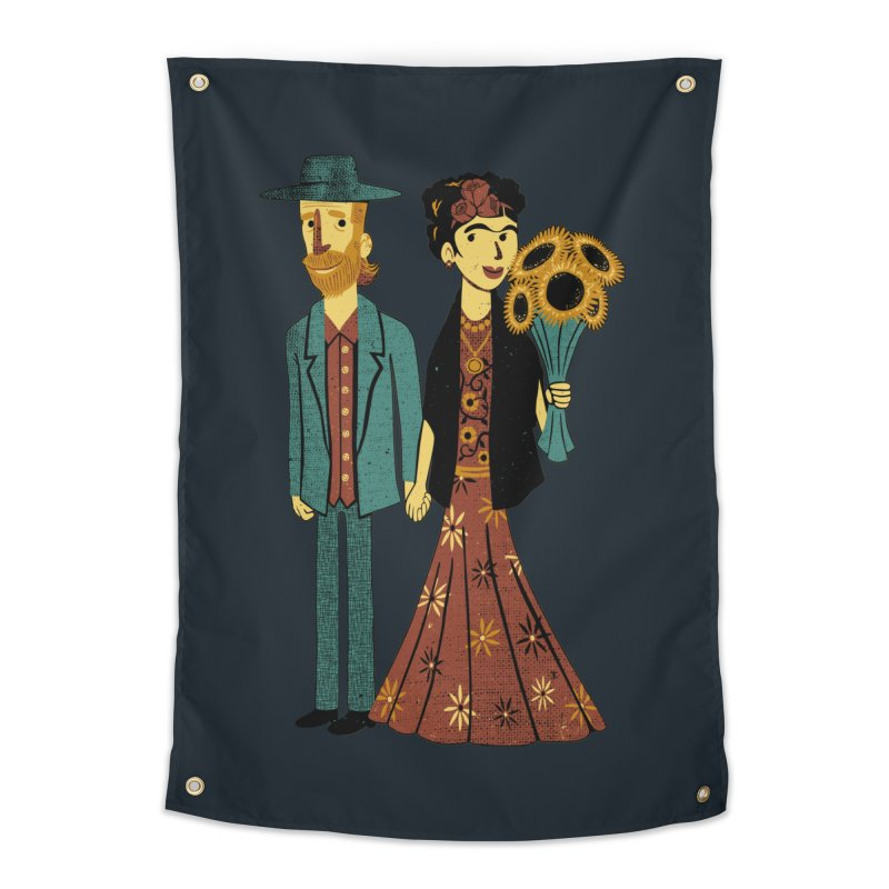 Love is Art Frida Kahlo and Van Gogh  Home Tapestry by Tobe Fonseca's Artist Shop
