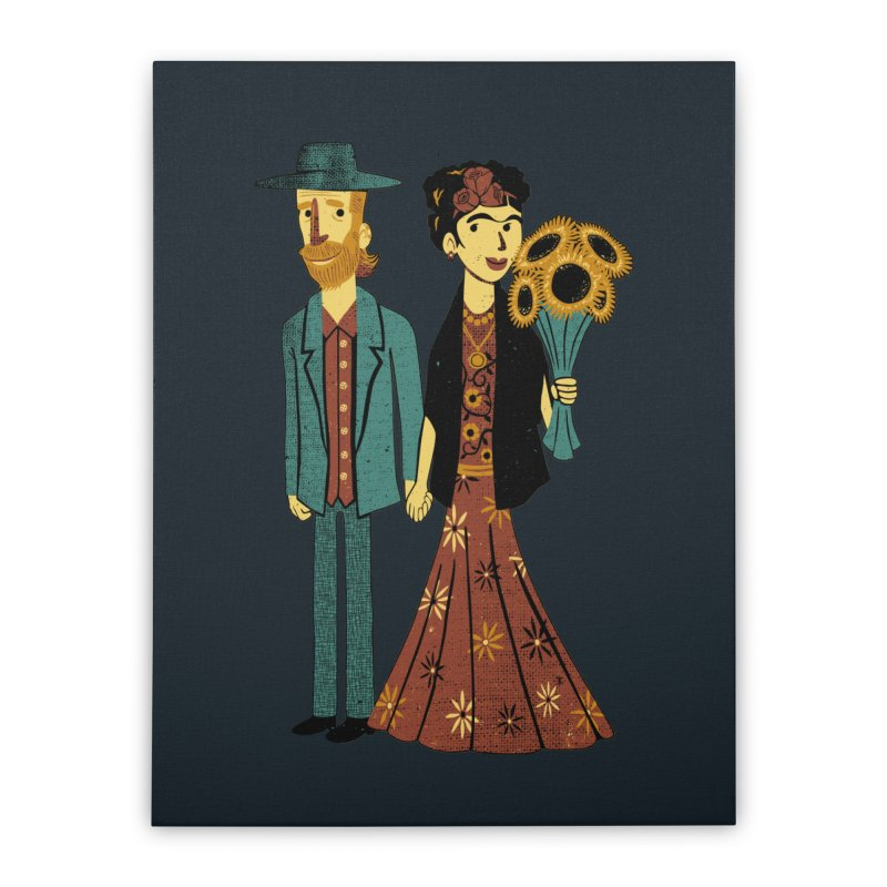 Love is Art Frida Kahlo and Van Gogh  Home Stretched Canvas by Tobe Fonseca's Artist Shop
