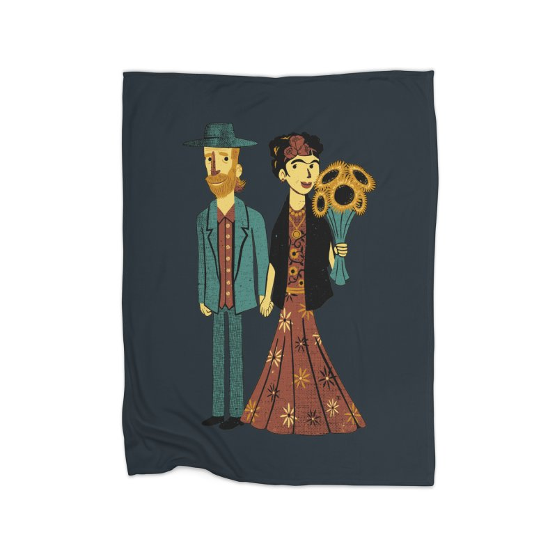 Love is Art Frida Kahlo and Van Gogh  Home Blanket by Tobe Fonseca's Artist Shop