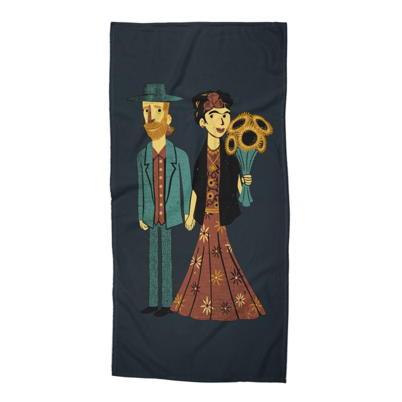 Love is Art Frida Kahlo and Van Gogh  Accessories Beach Towel by Tobe Fonseca's Artist Shop