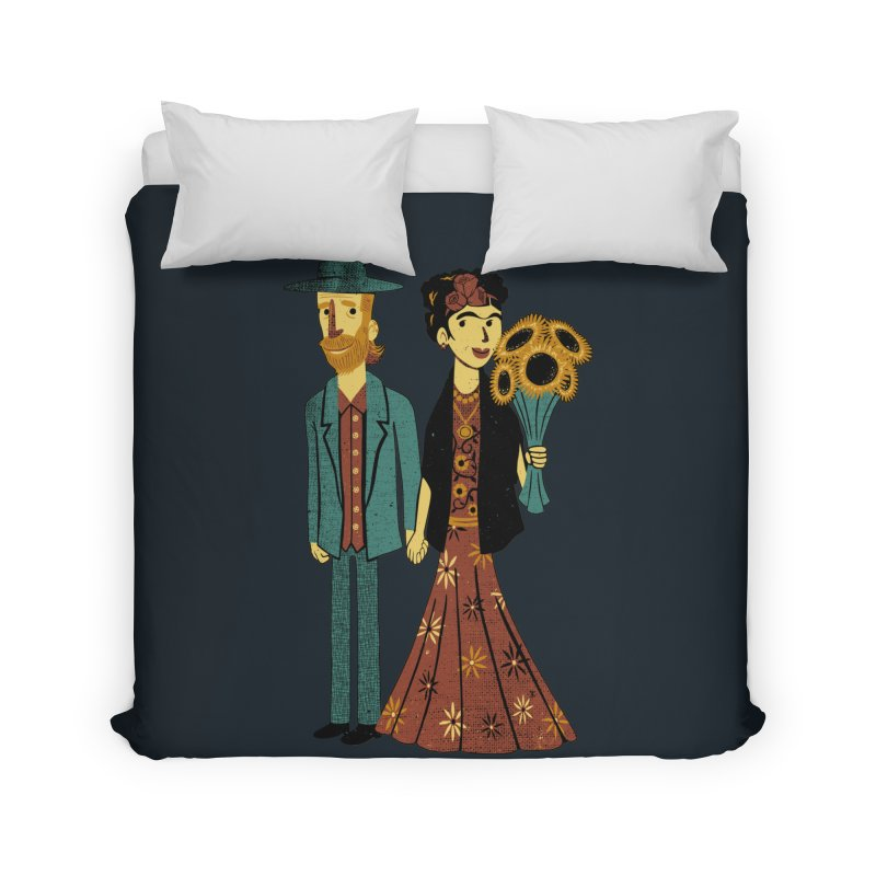 Love is Art Frida Kahlo and Van Gogh  Home Duvet by Tobe Fonseca's Artist Shop
