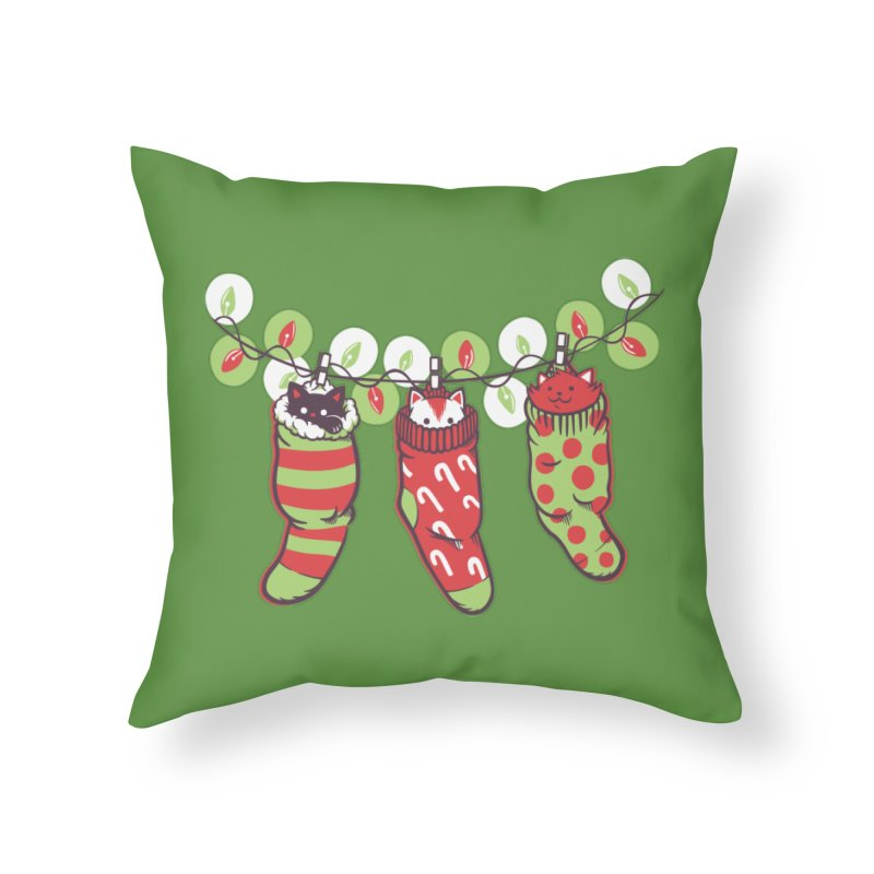 Jingle Meow Home Throw Pillow by Tobe Fonseca's Artist Shop