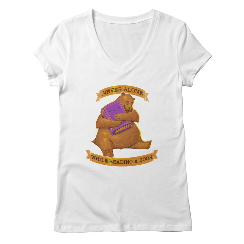 Never Alone While Reading a Book Women's V-Neck by Tobe Fonseca's Artist Shop