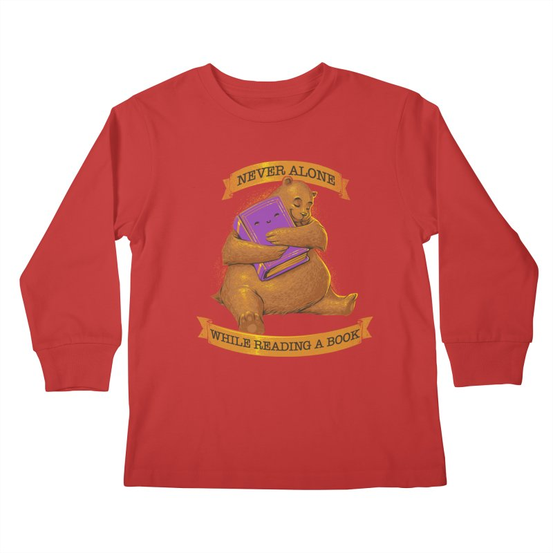 Never Alone While Reading a Book Kids Longsleeve T-Shirt by Tobe Fonseca's Artist Shop