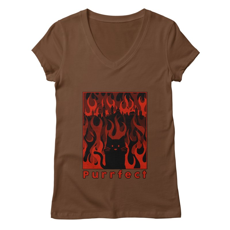 Purrfect Women's V-Neck by Tobe Fonseca's Artist Shop