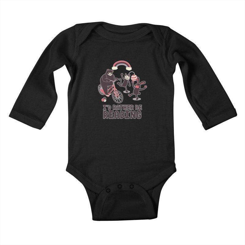 I'd Rather Be Reading Kids Baby Longsleeve Bodysuit by Tobe Fonseca's Artist Shop