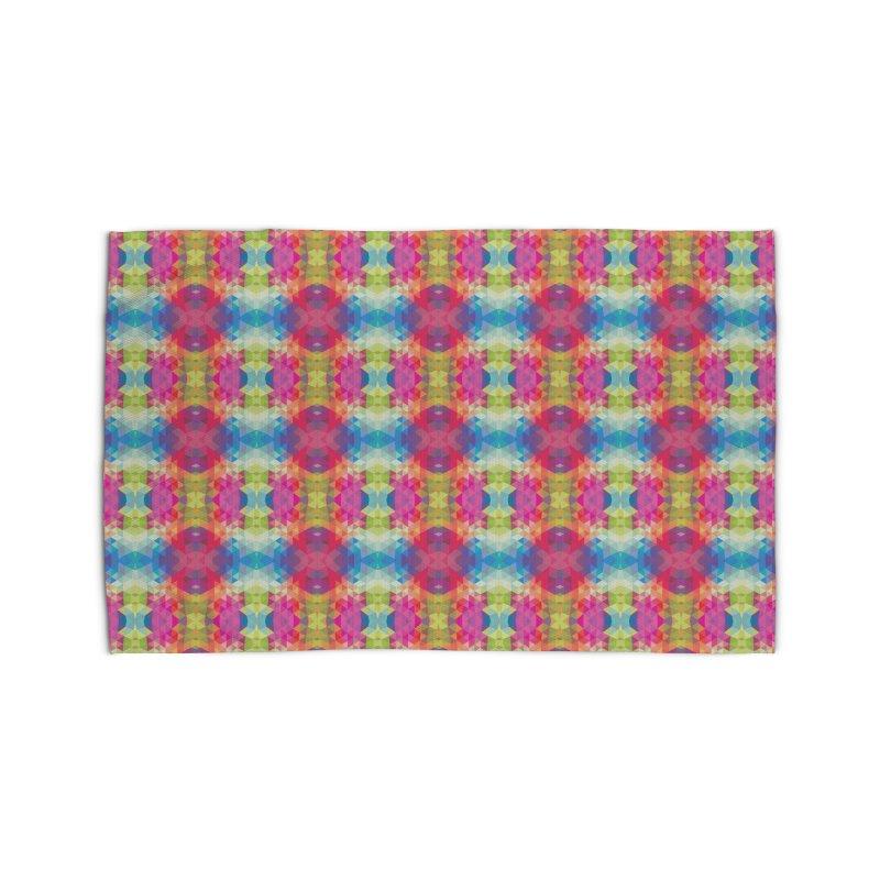 Geometric Fractal Kaleidoscope Rainbow Home Rug by Tobe Fonseca's Artist Shop