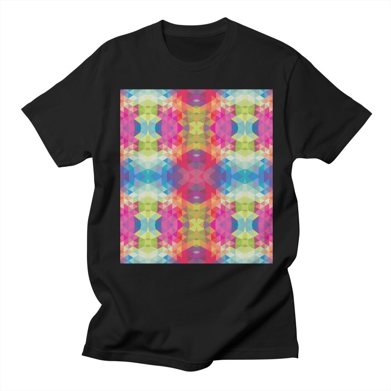 Geometric Fractal Kaleidoscope Rainbow Men's T-shirt by Tobe Fonseca's Artist Shop