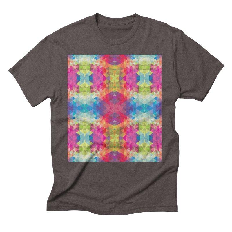 Geometric Fractal Kaleidoscope Rainbow Men's Triblend T-shirt by Tobe Fonseca's Artist Shop