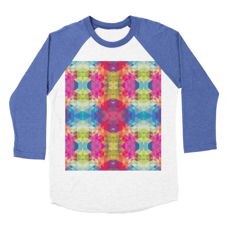 Geometric Fractal Kaleidoscope Rainbow Women's Baseball Triblend T-Shirt by Tobe Fonseca's Artist Shop