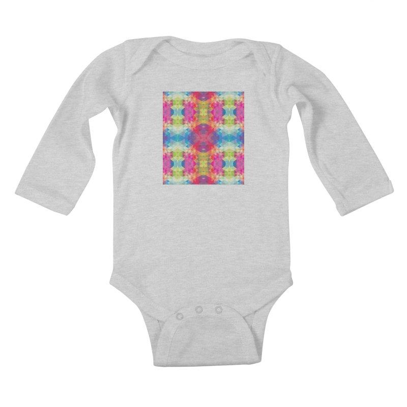Geometric Fractal Kaleidoscope Rainbow Kids Baby Longsleeve Bodysuit by Tobe Fonseca's Artist Shop