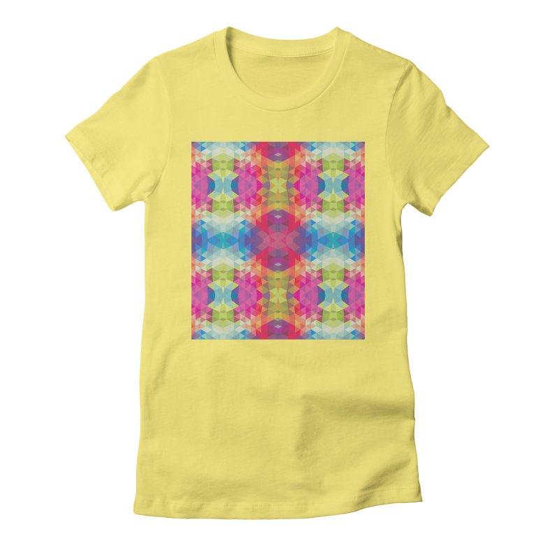 Geometric Fractal Kaleidoscope Rainbow Women's Fitted T-Shirt by Tobe Fonseca's Artist Shop