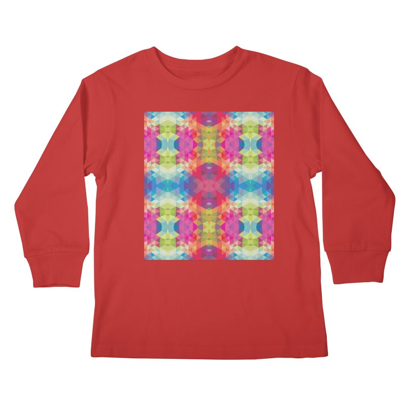 Geometric Fractal Kaleidoscope Rainbow Kids Longsleeve T-Shirt by Tobe Fonseca's Artist Shop
