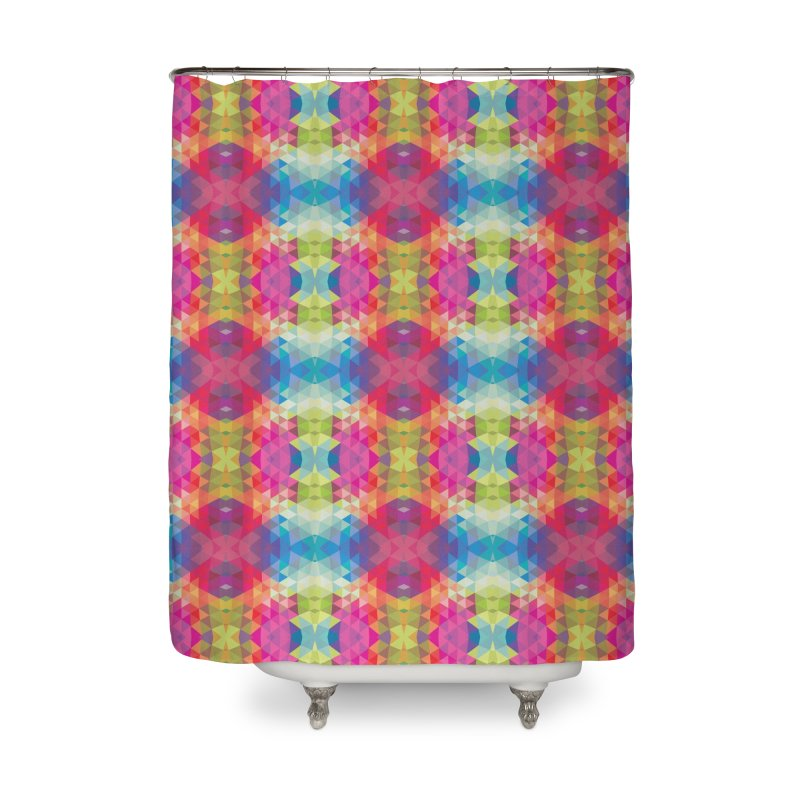 Geometric Fractal Kaleidoscope Rainbow Home Shower Curtain by Tobe Fonseca's Artist Shop