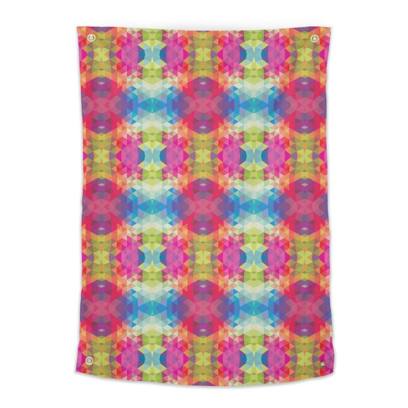 Geometric Fractal Kaleidoscope Rainbow Home Tapestry by Tobe Fonseca's Artist Shop