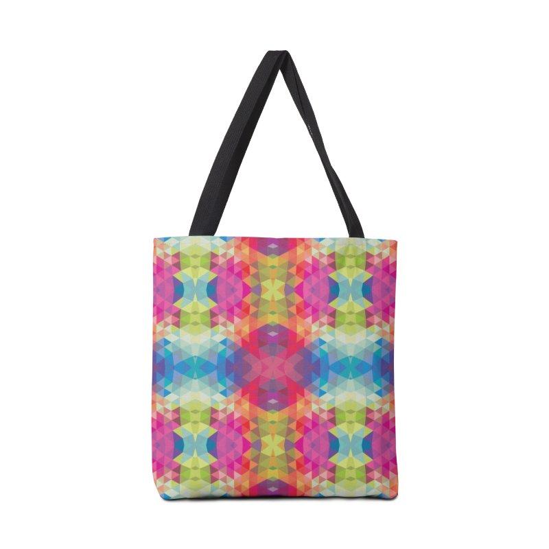 Geometric Fractal Kaleidoscope Rainbow Accessories Bag by Tobe Fonseca's Artist Shop
