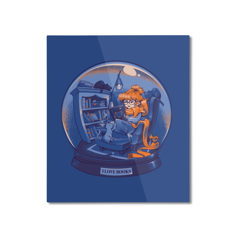 I Love Books and Cats Home Mounted Aluminum Print by Tobe Fonseca's Artist Shop