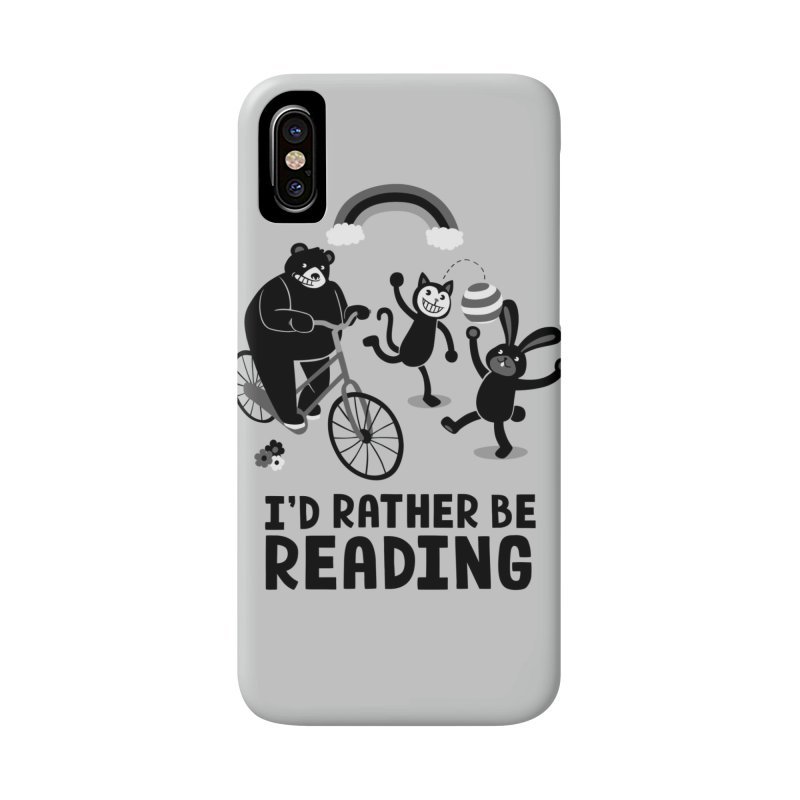 I'd Rather Be Reading Black and White Accessories Phone Case by Tobe Fonseca's Artist Shop