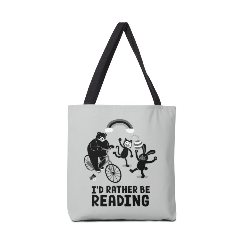I'd Rather Be Reading Black and White Accessories Bag by Tobe Fonseca's Artist Shop