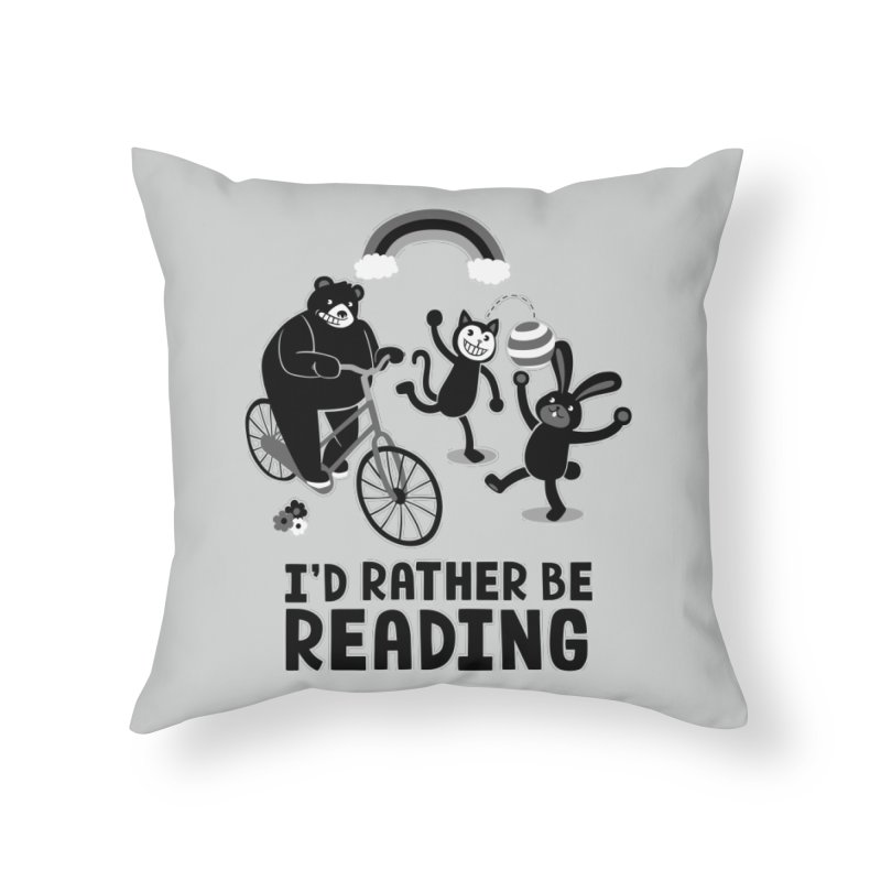 I'd Rather Be Reading Black and White Home Throw Pillow by Tobe Fonseca's Artist Shop