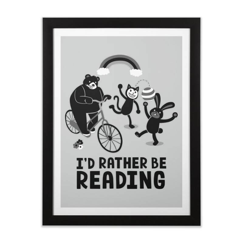I'd Rather Be Reading Black and White Home Framed Fine Art Print by Tobe Fonseca's Artist Shop