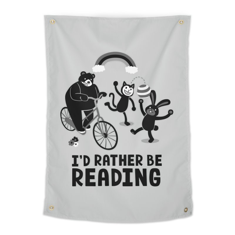 I'd Rather Be Reading Black and White Home Tapestry by Tobe Fonseca's Artist Shop