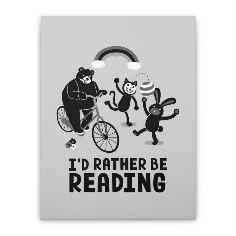 I'd Rather Be Reading Black and White Home Stretched Canvas by Tobe Fonseca's Artist Shop