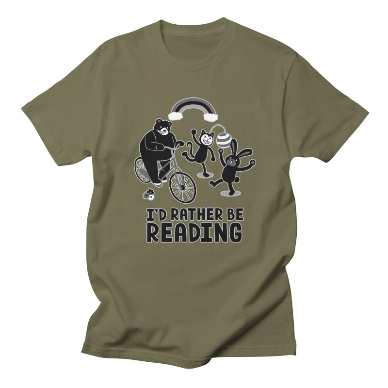 I'd Rather Be Reading Black and White Women's Unisex T-Shirt by Tobe Fonseca's Artist Shop