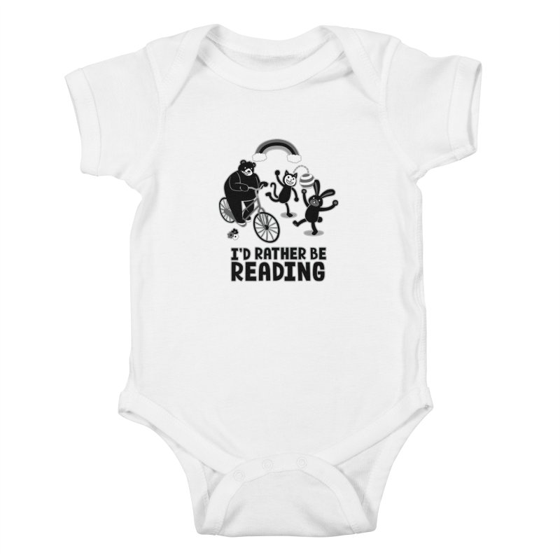 I'd Rather Be Reading Black and White Kids Baby Bodysuit by Tobe Fonseca's Artist Shop
