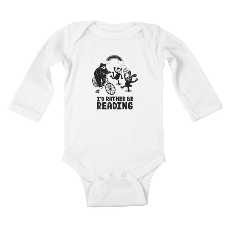 I'd Rather Be Reading Black and White Kids Baby Longsleeve Bodysuit by Tobe Fonseca's Artist Shop