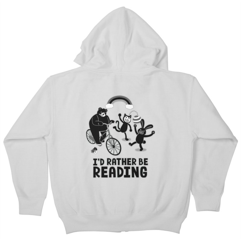 I'd Rather Be Reading Black and White Kids Zip-Up Hoody by Tobe Fonseca's Artist Shop