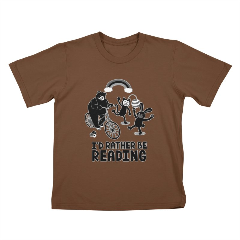 I'd Rather Be Reading Black and White Kids T-Shirt by Tobe Fonseca's Artist Shop