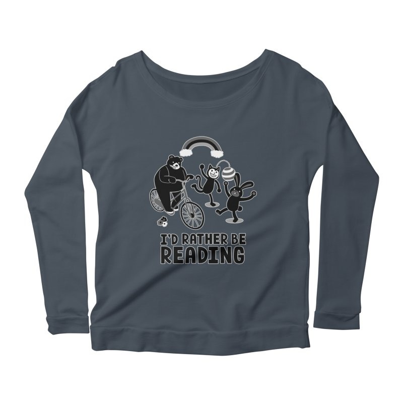 I'd Rather Be Reading Black and White Women's Longsleeve Scoopneck  by Tobe Fonseca's Artist Shop