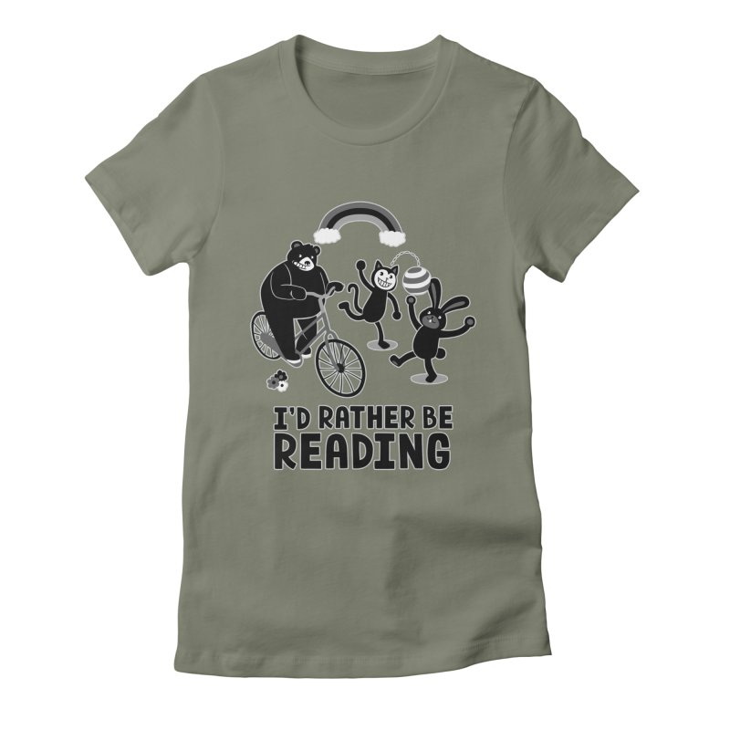 I'd Rather Be Reading Black and White Women's Fitted T-Shirt by Tobe Fonseca's Artist Shop