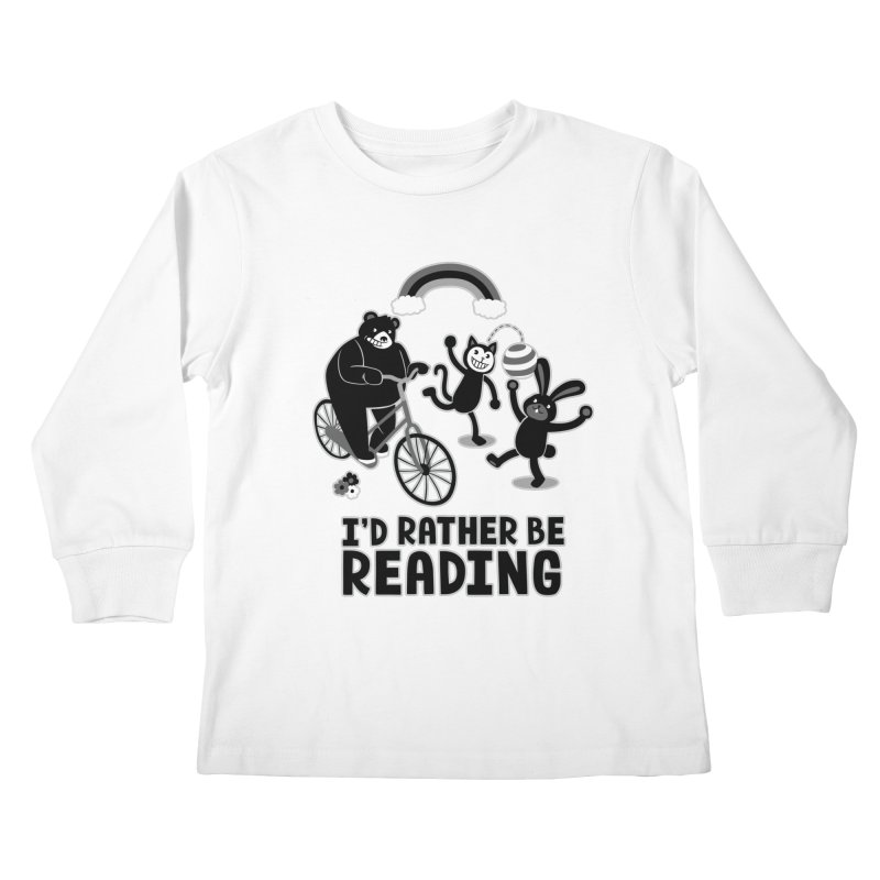 I'd Rather Be Reading Black and White Kids Longsleeve T-Shirt by Tobe Fonseca's Artist Shop