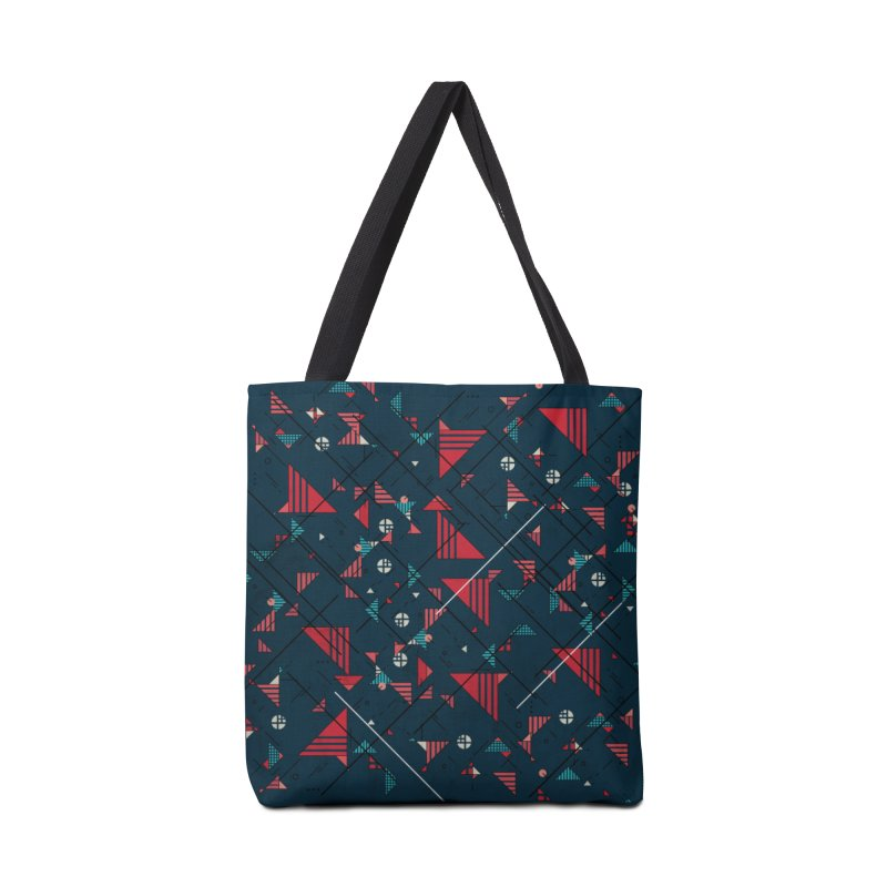 Geometric Abstract Red Pattern Accessories Bag by Tobe Fonseca's Artist Shop