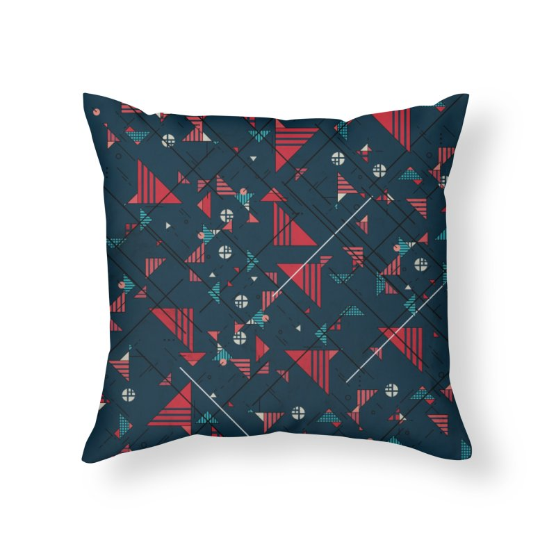 Geometric Abstract Red Pattern Home Throw Pillow by Tobe Fonseca's Artist Shop