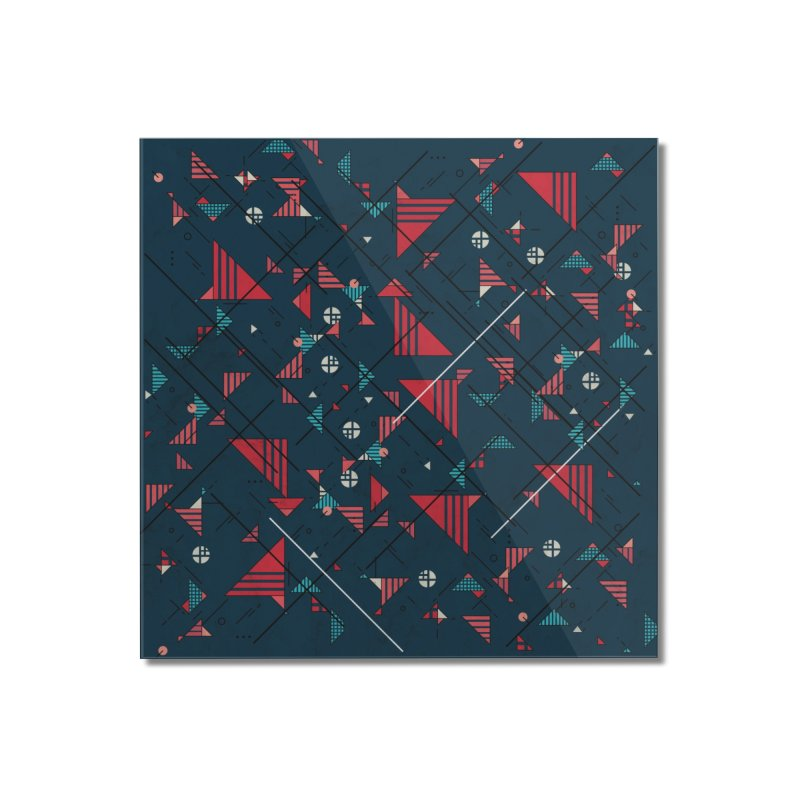 Geometric Abstract Red Pattern Home Mounted Acrylic Print by Tobe Fonseca's Artist Shop