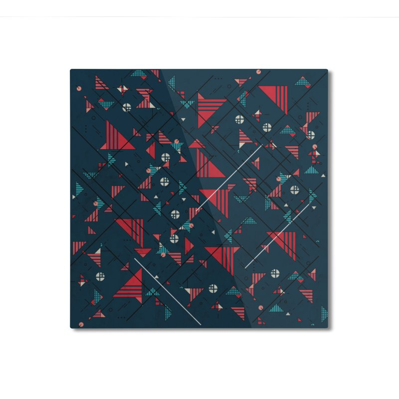 Geometric Abstract Red Pattern Home Mounted Aluminum Print by Tobe Fonseca's Artist Shop