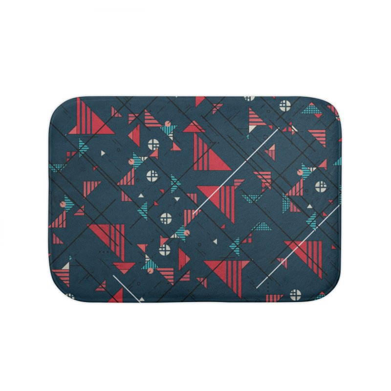 Geometric Abstract Red Pattern Home Bath Mat by Tobe Fonseca's Artist Shop