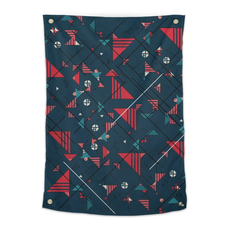 Geometric Abstract Red Pattern Home Tapestry by Tobe Fonseca's Artist Shop