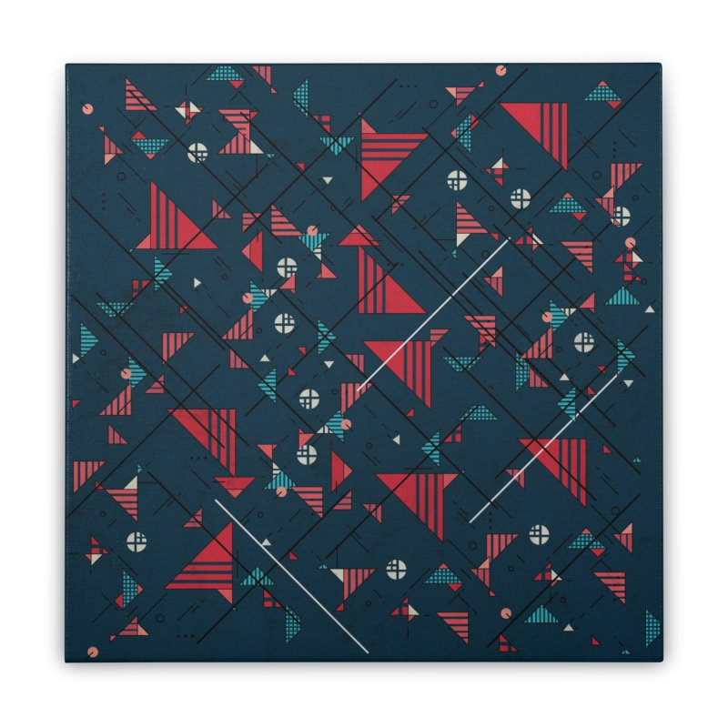 Geometric Abstract Red Pattern Home Stretched Canvas by Tobe Fonseca's Artist Shop