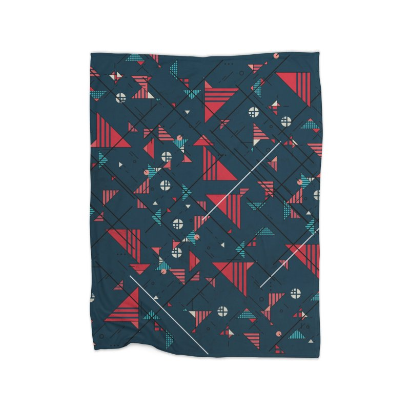 Geometric Abstract Red Pattern Home Blanket by Tobe Fonseca's Artist Shop