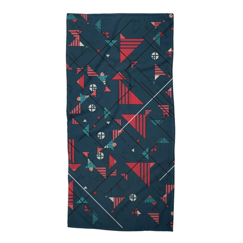 Geometric Abstract Red Pattern Accessories Beach Towel by Tobe Fonseca's Artist Shop