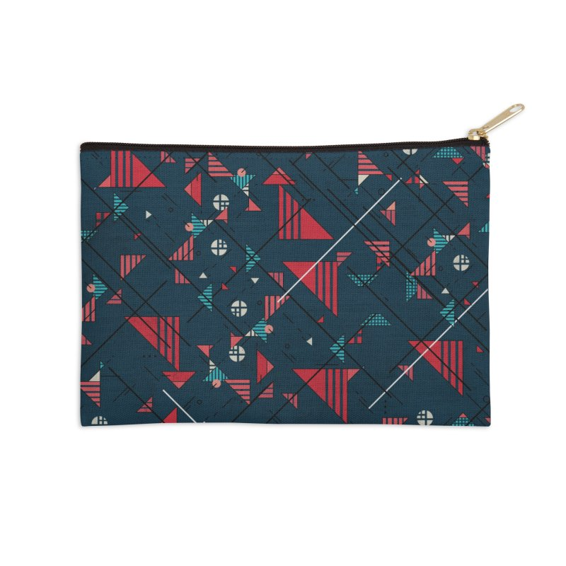 Geometric Abstract Red Pattern Accessories Zip Pouch by Tobe Fonseca's Artist Shop