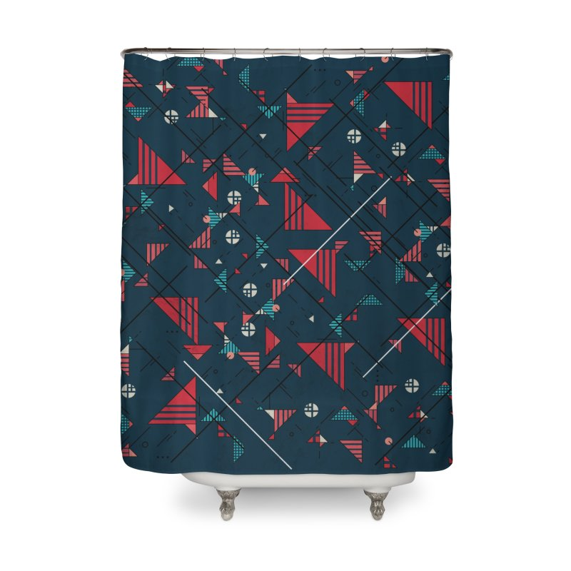 Geometric Abstract Red Pattern Home Shower Curtain by Tobe Fonseca's Artist Shop