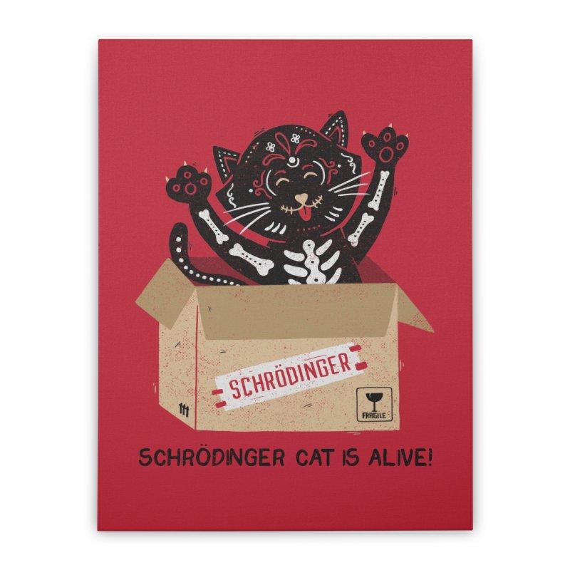 Am I Alive Schrödinger Cat Home Stretched Canvas by Tobe Fonseca's Artist Shop