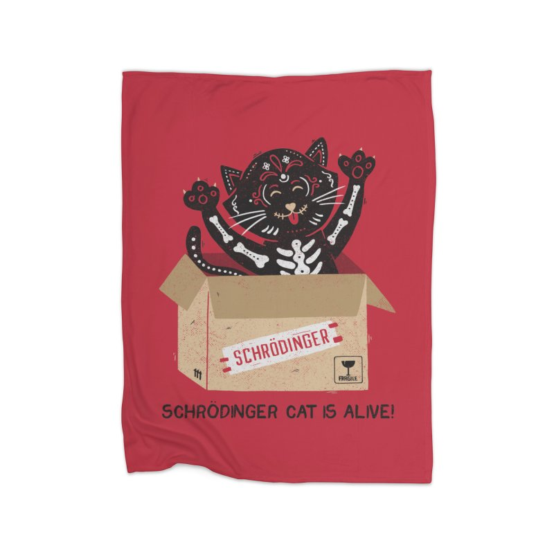 Am I Alive Schrödinger Cat Home Blanket by Tobe Fonseca's Artist Shop