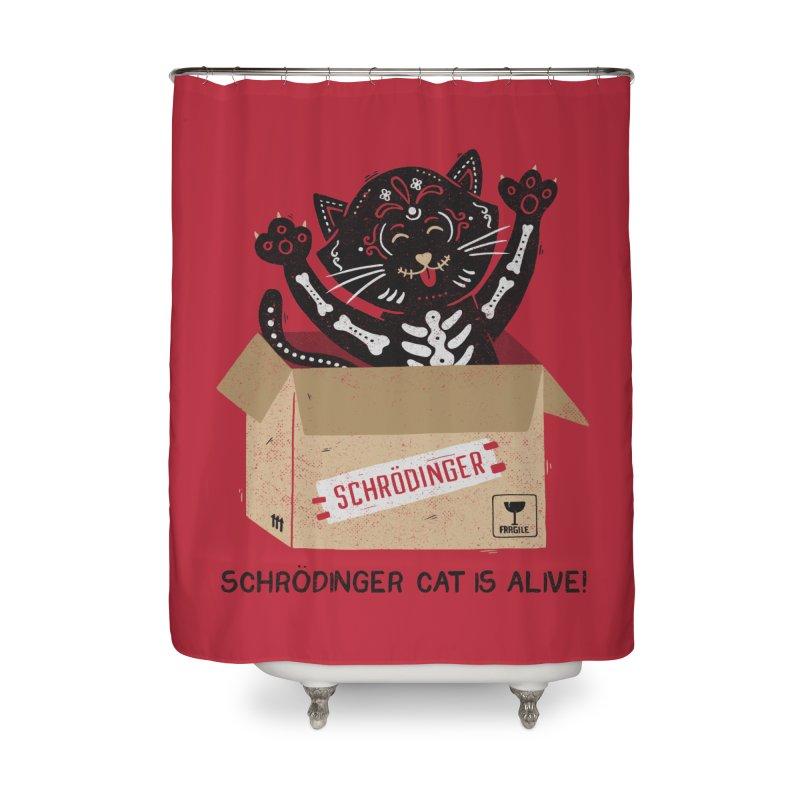 Am I Alive Schrödinger Cat Home Shower Curtain by Tobe Fonseca's Artist Shop